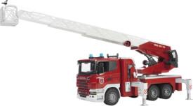 Bruder 03590 Scania Feuerwehrleiterwagen plus Licht und Sound Module, Maße: 71 x 20,5 x 29 cm, Plastik & Kunststoff, ab 3 Jahre