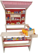 Kinderkaufladen mit Stoffdach, Birke